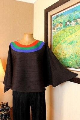 FREE SHIPPING  Miyake fold long sleeve  patchwork o-neck batwing sleeve cloak T-shirt  HOT SELLING
