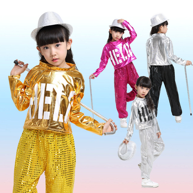 f68feacc2 Free Shipping Children Hip Hop Jazz Dance Costumes for Girls Boys Kids  Stage Competition Ballroom Dancing Clothes Dancewear