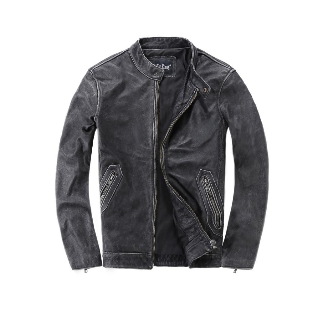 2018 Nouveau Hommes Vachette Casual Véritable Veste En Cuir Col montant Équitation Vestes Noir/Noir Eding/Vintage Gris Manteaux