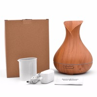 Moisturizing Skin Care Air Humidifier 400ml Aroma Essential Oil Diffuser Wood Grain 7Colors Changing LED Ultrasonic