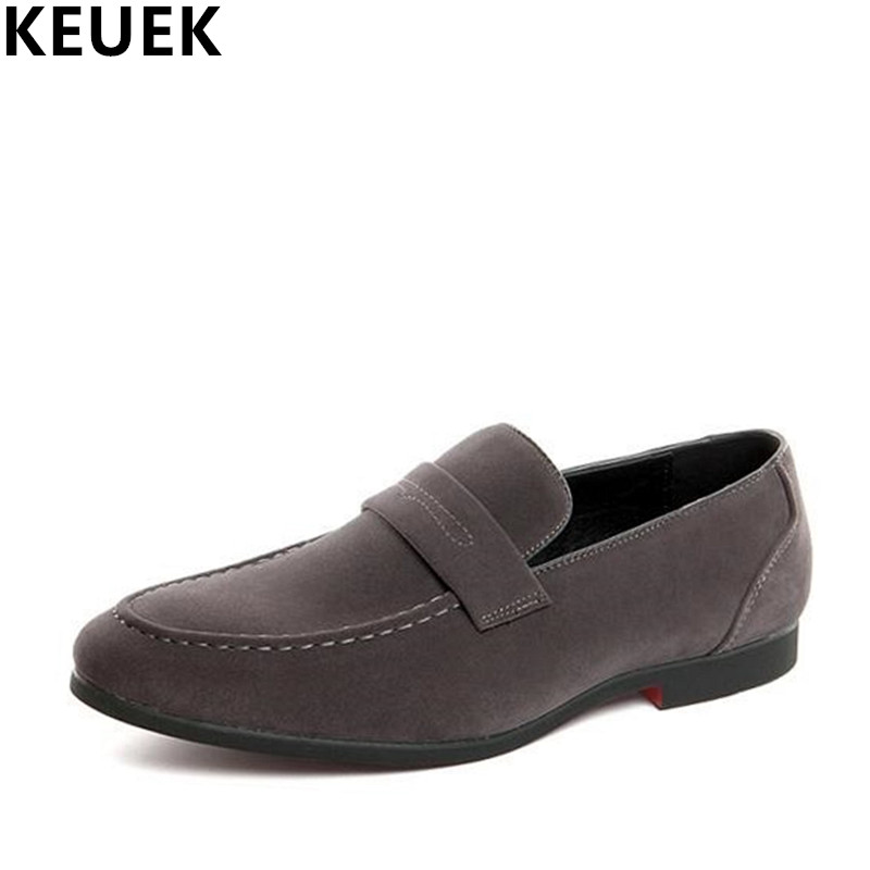 Large size Casual Loafers Faux Suede leather Breathable Slip-On Flats Men leather shoes British style driving shoes 01B 2018 brand new spring men slip on shoes breathable shoes british style shoes loafers genuine leather flat shoes wa 03