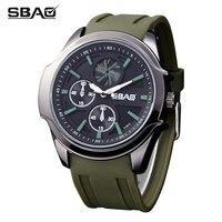 SBAOแบรนด์นาฬิกาผู้ชายส่องสว่างน้ำทนวันกีฬาควอตซ์ทหารชายนาฬิกานาฬิกายางวงนาฬิกาข้อมือผู้...