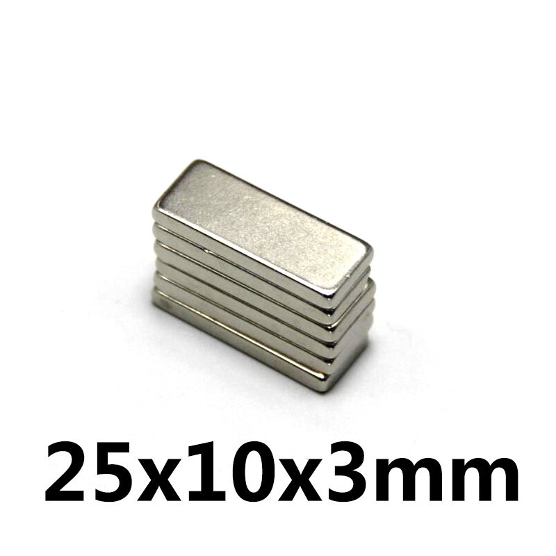 10pcs Neodymium magnet 25x10x3 mm Rare Earth Strong block permanent 25*10*3mm fridge Electromagnet NdFeB nickle magnetic square