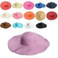 Cómodo Diseño de la Mujer Plegable Grande Ancho de Ala Playa Sol Sombrero de Paja Casquillo de la Playa Elegante Sombreros Niñas Sombrero de Viaje de Vacaciones