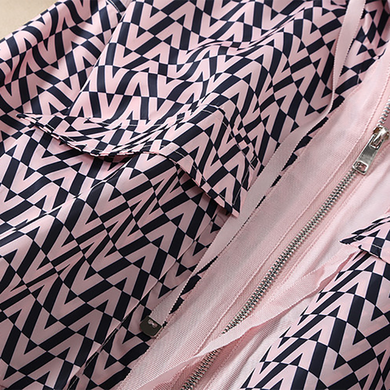 Imprimer À Noir Automne Pardessus Lâche Avec Capuche Court rose Manches De Arrivée Pleine Femelle Manteau Nouvelle Mode Qualité Vestes Haute qnxt1UZRwp
