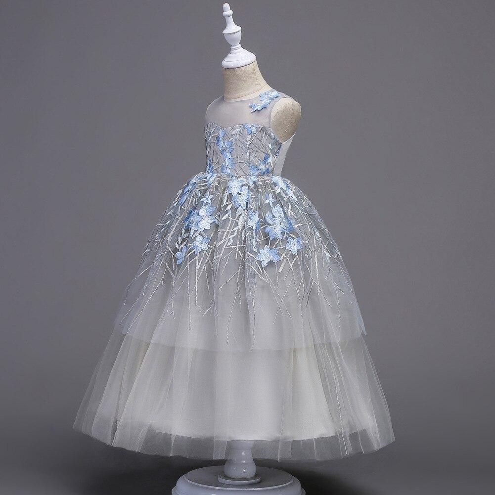 Boutique longue robe de princesse 5-16 ans fille robe de soirée première Communion décorations de fête élégante fleur fille robe de mariée - 3