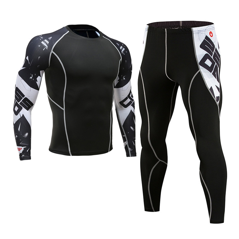 thermal underwear fitness compression suit T shirt men 39 s 3D printing MMA Crossfit muscle shirt leggings bottom clothing Brand in Men 39 s Sets from Men 39 s Clothing