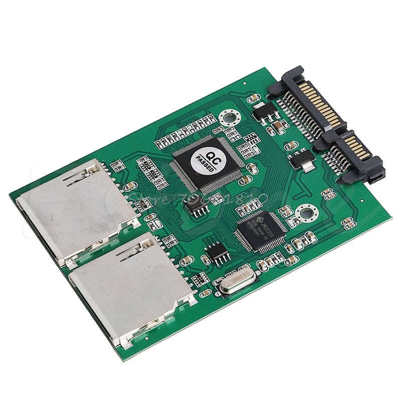 New 2 Port Dual SD SDHC MMC RAID to SATA Adapter Converter For Any Capacity SD Card ...