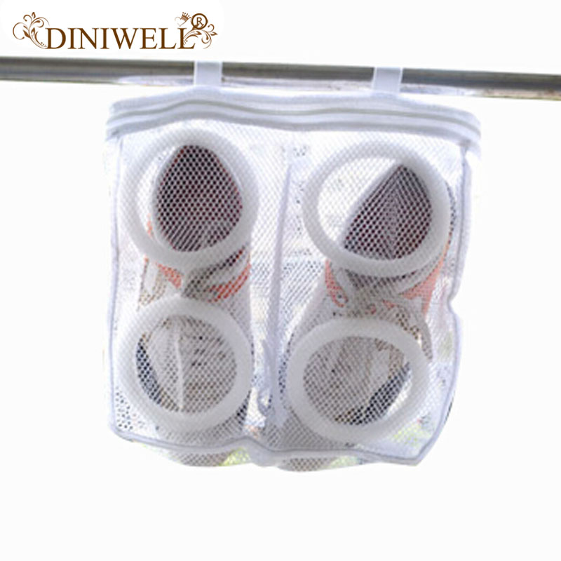 DINIWELL Polyester Shoe Storage Organizer Laundry Bags Shoes Washing Bag Hanging Dry Sneaker Mesh Laundry Bags