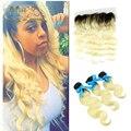 Лучшее качество Бразильской волне тела Волосы С Закрытием 13x4 ломбер блондинка Фронтальная Кружева Закрытие С 3 Связки с бесплатная доставка