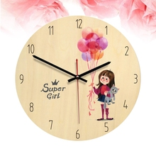 Wooden Circle Clock Wall Clock Fairy Tale Style Silent Modern Design Decorative Clock for Decorating Living Room Home Bedroom