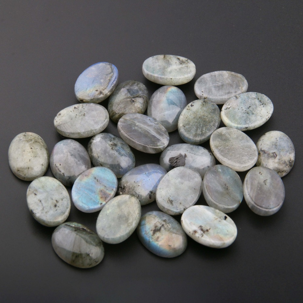 Natural Flash Labradorite Stones Cabochon 10*14, 12*16, 13*18, 15*20, 18*25 Mm Egg Shape No Hole For Making Jewelry