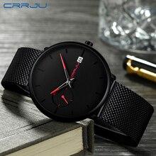 CRRJU montre de Sport pour hommes, accessoire de luxe étanche à cadran à Quartz pour hommes, Date Simple, Top marque, décontracté