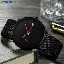Mens Watches CRRJU Simple Date Top Brand Luxury Waterproof Sport Watch Men Ultra Thin Dial Quartz Watch Casual Relogio Masculino