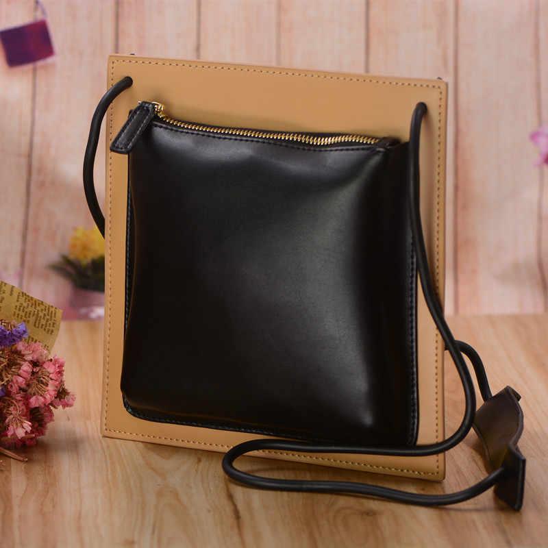c309b79d5e7e ... Мода небольшие подлинные кожаные сумки для женщин сумки дизайнер  площадь сумка-бесплатная 2 цветов bolsa ...