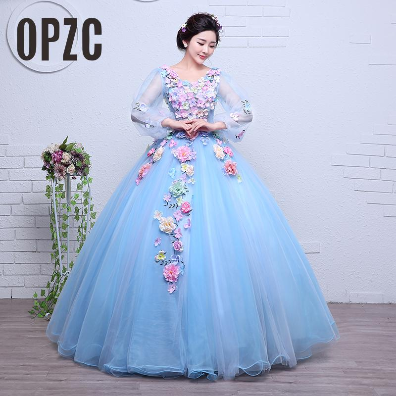 Real Photo Organza New Korean Style wedding dress 2017 New Long Sleeve girls pary Lace Gown Color flower vestido de noiva