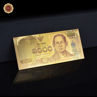 1000 Baht Colored Thailand  Gold Banknote Gold Foil Banknote Home Decoration Gift