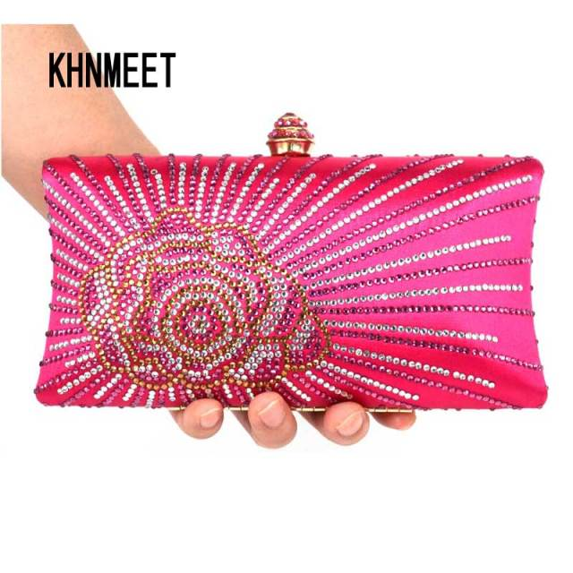 e45651604f Fashion orange Crystal Evening Clutches Women Rhinestones Bridal Purses  Wedding Prom Clutch Evening Bag Handbags Shoulder bag 13