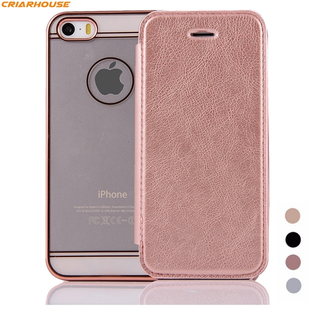 Minimalism thin phone case For Apple iPhone 8 SE 5 5G 5s 6 6s 7 Plus  RoseGold Leather Soft Silicone TPU Transparent Wallet Cover 13901120037da