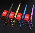 Фиолетовый дракон 8.0 дюймов волос ножницы pet ножницы высокого качества, профессиональные парикмахерские ножницы филировочные ножницы + сумка