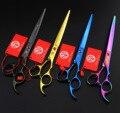 Purple dragon 8.0 inch hair scissors pet scissors high quality, professional hair hairdressing scissors thinning shears + bag