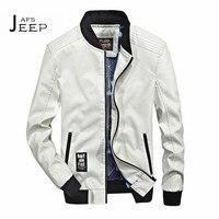 JI PU 4xl/3xl a S 2017 Otoño del Hombre Blanco/Azul De La Vendimia Del O-cuello de La Chaqueta de Cuero, Moda estilo Masculino PU chaqueta de Cuero de la motocicleta