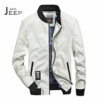 JI PU 4xl/3xl to S 2017 Autumn Man's White/Vintage Blue Leather O-neck Jacket,Fashion Style Male PU Leather motorcycle jacket