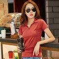 Novo 2016 versão Coreana do verão t shirt mulheres feminino curto-de mangas compridas t-camisa de forma Magro ocasional tops mais tamanho ropa mujer