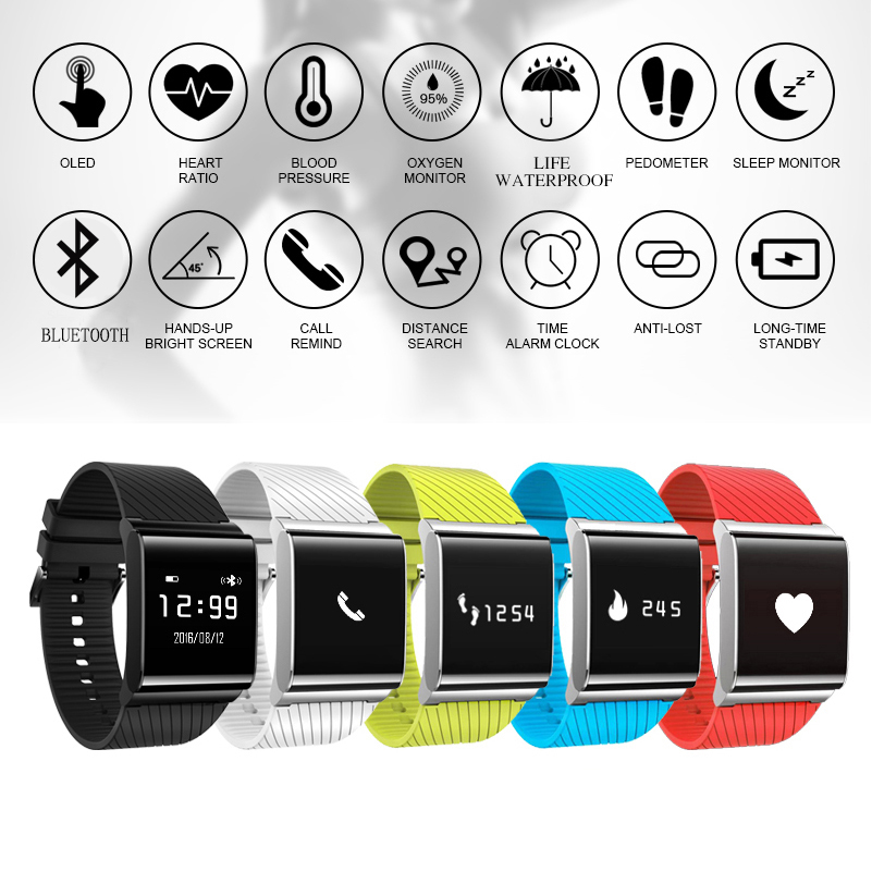 GZDL Smartwatch Bluetooth Heart Rate Monitor Health Fittness Tracker Wristband Bracelet For IOS Android Smart Band
