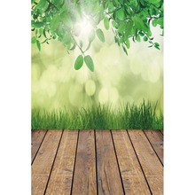 Laeacco Spring Green Leaves Light Bokeh Wooden Floor Photography Background Customized Photographic Backdrop For Photo Studio
