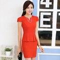Estilos de Moda de Verão Slim Mulheres Vestidos de Negócios formais OL Feminino Casual Vestido Vestido Escritório Ladies Tops Roupa Elegante Vermelho