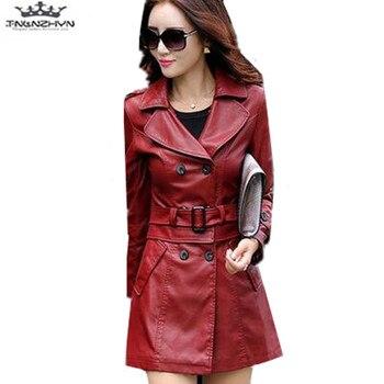 tnlnzhyn Plus Size M-5XL 2019 New Spring Autumn Fashion Faux Leather Jacket Washed PU Leather Coat Slim Leather Jacket Coat Y650