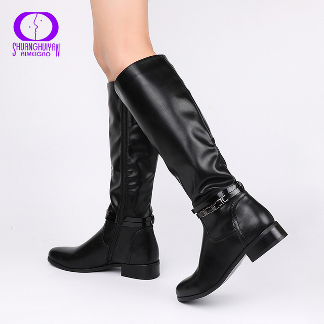 AIMEIGAO Fashion Ladies Knee High Winter Boots Soft Leather Boots Woman  Black Zip Warm Fur Women 9952c79aa2