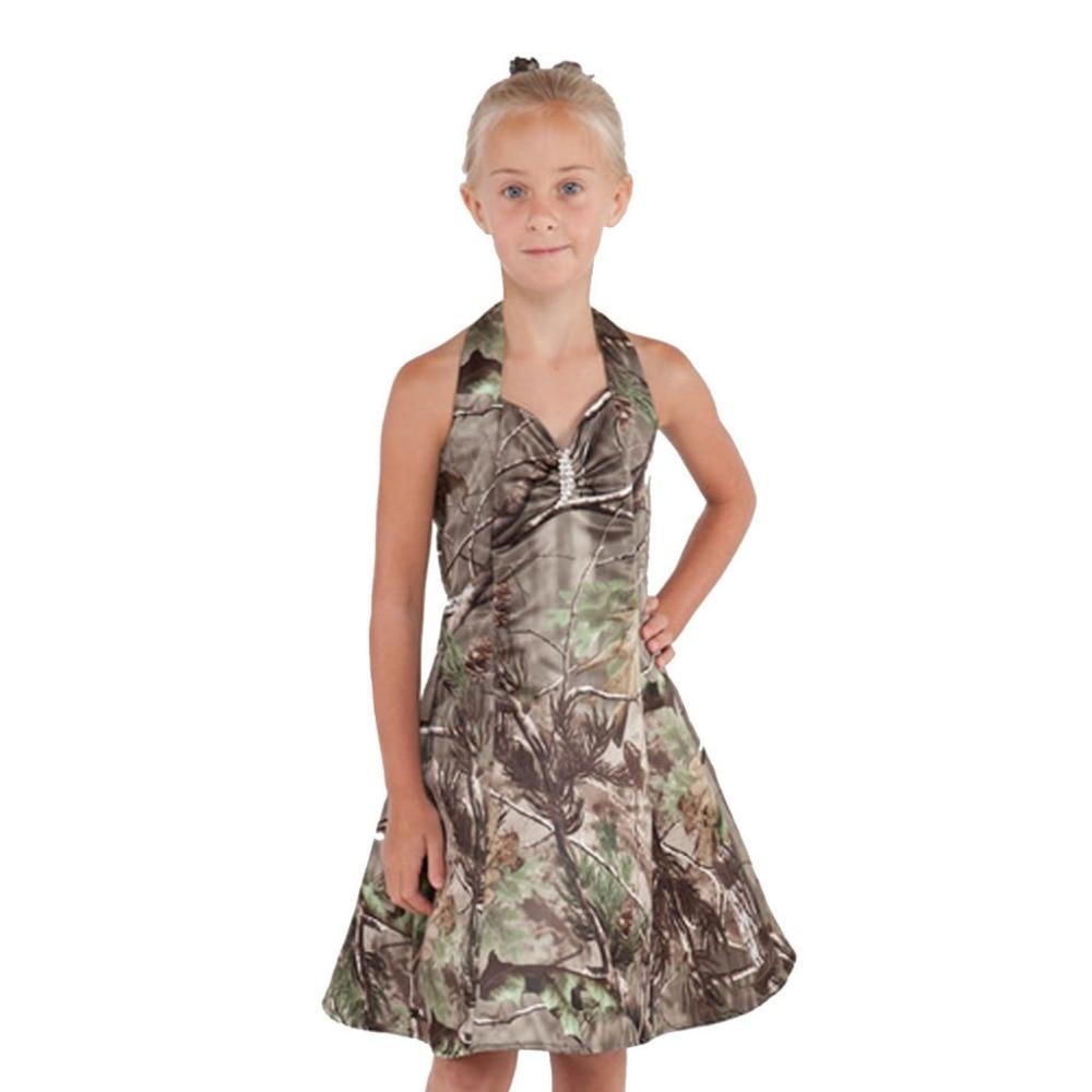 girls camouflage dress pageant gowns camo flower girl dresses custom make camo print night dress