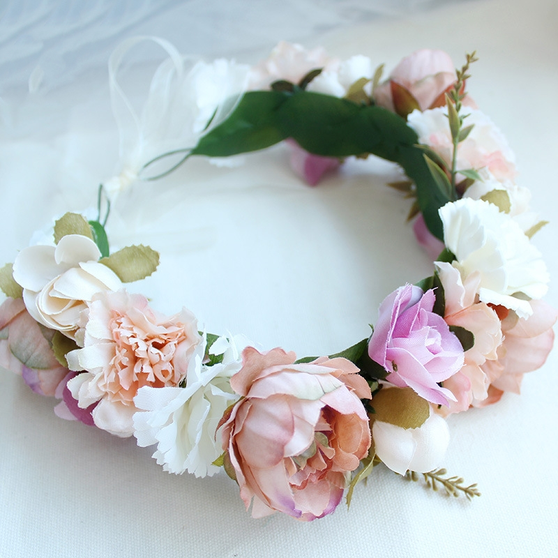 HIYONG European Style Floral Headband for Women Handmade Headbands Artificial Flower Garland Decoration Wreath of Hair in Hair Jewelry from Jewelry Accessories