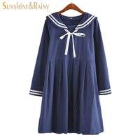 autumn summer new women's dress female cotton-line Japanese Naval College style sweet striped pure girls long sleeve dress