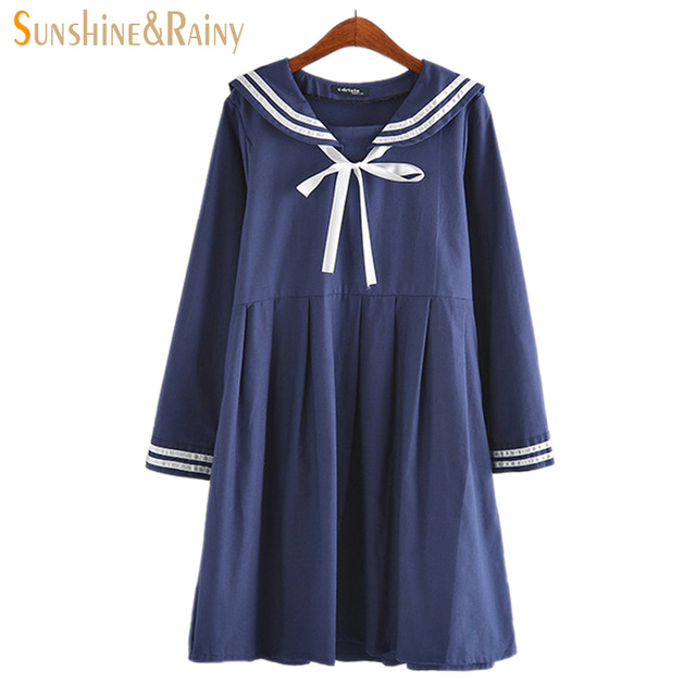 autumn summer new women's dress female cotton-line Japanese Naval College style sweet striped pure girls long sleeve dress