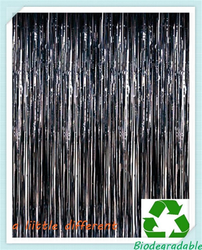 Size (1M x2M) 1pcs Black Fringe Foil Curtain Tinsel Door Backdrop For Photo Booth Edge Table Doorway Windows Decoration