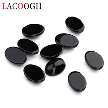 Wholesale 10pcs/lot Black Natural Bulk Beads 10x14 13x18mm Flat Back Oval Cabochons Cameo Stone for Jewelry Findings
