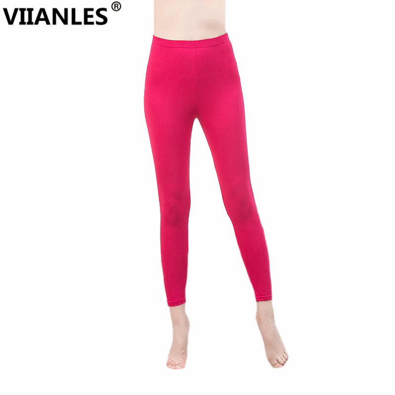 VIIANLES High Stretched   Legging   New Spring Summer Solid Trousers Candy Neon   Leggings   for Women Girl Sporting Leggins Gym Pants