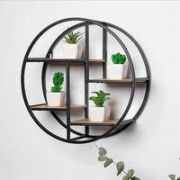 Creative Home Solid Wood Wall Hanging Wrought Iron Wall Rack Round Wall Flower Stand Background Wall Decoration