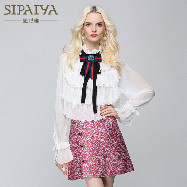 SIPAIYA 2017 New Summer European Women's Casual Sleeveless Pearl Shirt Solid Color Temperament Pearl Blouse Ladies Office Shirt
