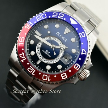 43mm Bliger Sterile Luminous Titanium/Ceramic Bezel Black&Blue Dial Automatic Men's Watch