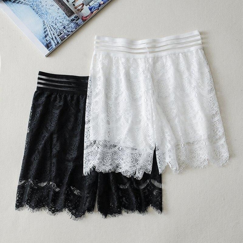 White lace safety pants ladies transparent striped belt summer shorts