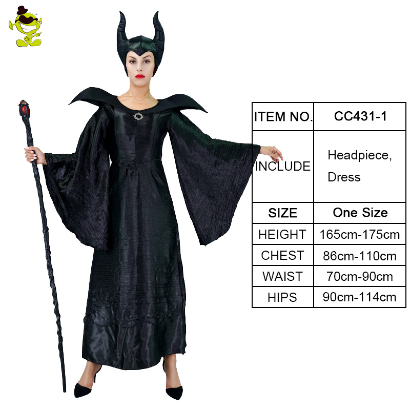 Malleficent Costumes Halloween Carnival Party Hot Movie Character Dark Magic Women Cosplay Fancy Dress Adult Deluxe Witch Dress