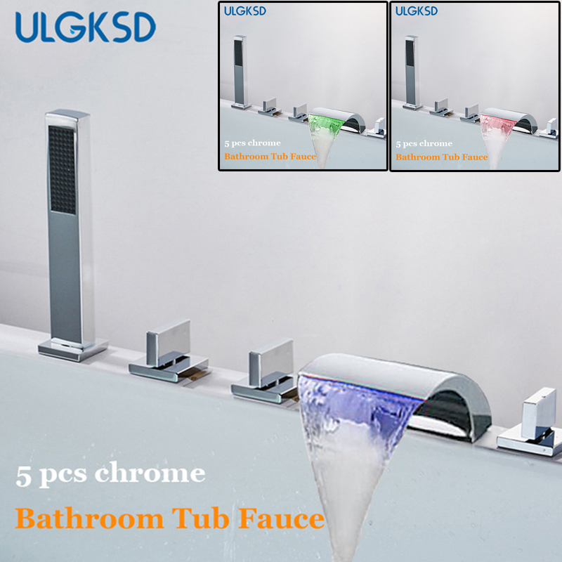 Ulgksd 5 pcs LED Waterfall Bathtub Faucet Spout Chrome Brass Bathroom Shower Faucet W/ Hand shower Hot and Cold Mixer Tap