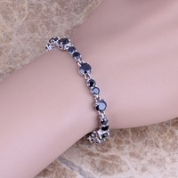 Luxurious Black Sapphire 925 Sterling Silver Overlay Link Chain Bracelet For Women 7 Inch Free Shipping