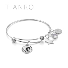 TIANRO High-quality Stainless steel plating Rhodium men and women bracelet ink painting bangle jewelry