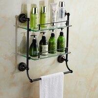 Vintage Black Brass Cosmetics Holder With Towel Rack Brushed Crown Base Glass Storage Shelf Wall Mount