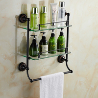 Vintage Black Brass Cosmetics Holder With Towel Rack Brushed Crown Base Glass Storage Shelf Wall Mount